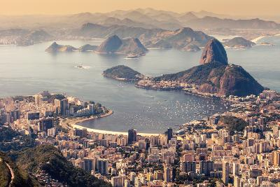 Rio De Janeiro, Brazil. Suggar Loaf and Botafogo Beach Viewed from Corcovado-Curioso Travel Photography-Photographic Print