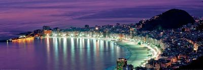 Rio de Janeiro - Night View of Copacabana Beach--Art Print