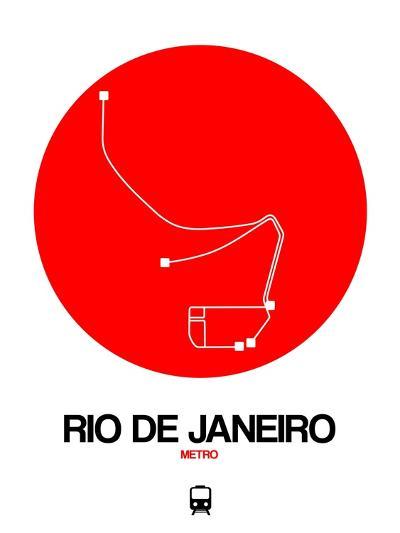 Rio De Janeiro Red Subway Map-NaxArt-Art Print
