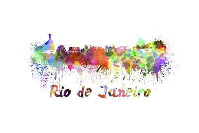 Rio De Janeiro Skyline in Watercolor-paulrommer-Art Print