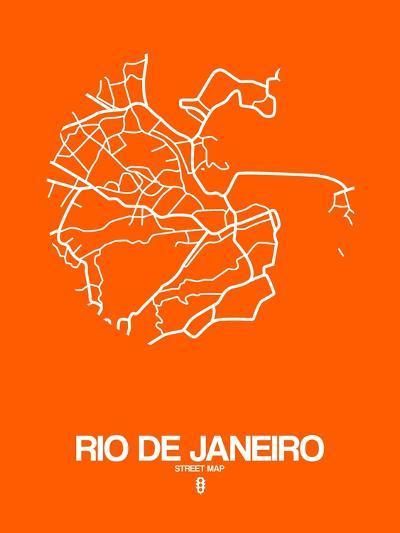 Rio de Janeiro Street Map Orange-NaxArt-Art Print