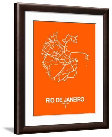 Rio de Janeiro Street Map Orange-NaxArt-Framed Art Print