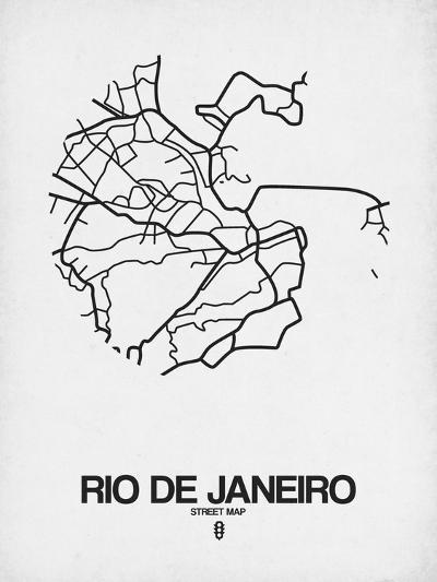Rio de Janeiro Street Map White-NaxArt-Art Print