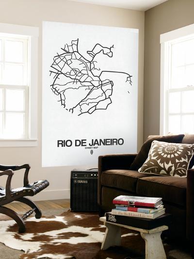Rio de Janeiro Street Map White-NaxArt-Wall Mural