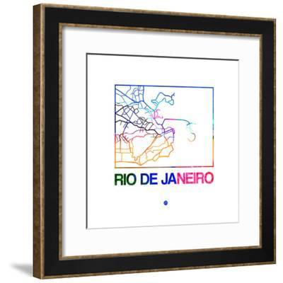 Rio De Janeiro Watercolor Street Map-NaxArt-Framed Premium Giclee Print