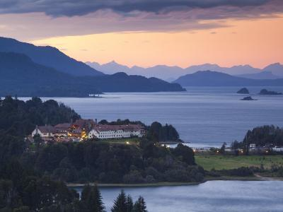 Rio Negro Province, Lake District, Hotel Llao Llao and Lake Nahuel Huapi, Dusk, Argentina-Walter Bibikow-Photographic Print