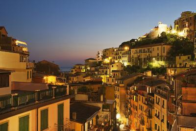 Riomaggiore Rooftops and the Castle at Dusk-Mark Sunderland-Photographic Print