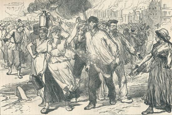 Rioters and petroleuses firing public buildings in Paris during the Paris Commune, 1871-Unknown-Giclee Print