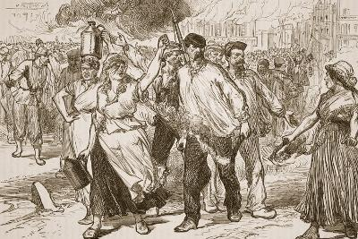 Rioters and Petroleuses Firing Public Buildings in Paris--Giclee Print