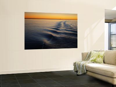 Ripple Lines of Boat in Water in Karumba Shipping Channel at Sunset-Cathy Finch-Wall Mural