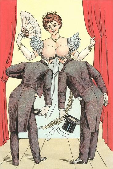 Risque Drawing, Two Gentlemen and Lady--Art Print