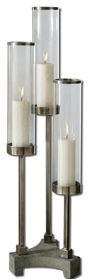 Risto Brushed Aluminum Candleholder--Home Accessories