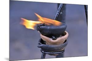 Ritual Butter Lamp in the Buddhist Pilgrimage Site of Sri Mahabodhi, Anuradhapura, Sri Lanka