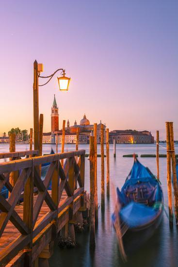 Riva Degli Schiavoni, Venice, Veneto, Italy. Moored Gondolas in Front of San Giorgio Maggiore-Marco Bottigelli-Photographic Print