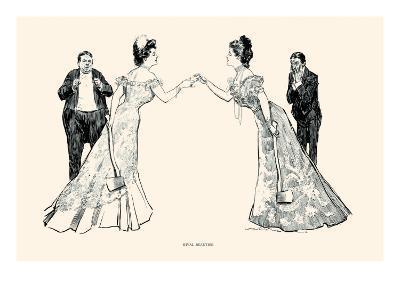 Rival Beauties-Charles Dana Gibson-Art Print