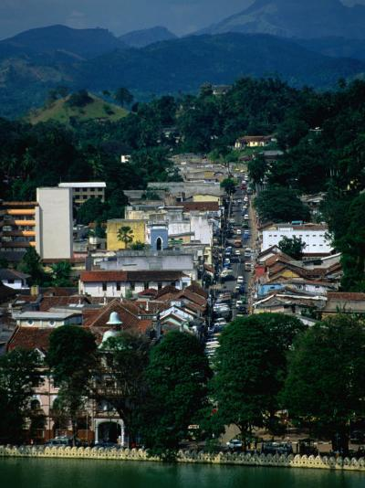 River and City Street in Distance, Kandy, Sri Lanka-Dallas Stribley-Photographic Print