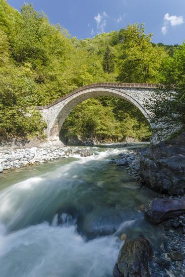 River and Stone Bridge, Rize, Black Sea Region of Turkey-Ali Kabas-Photographic Print