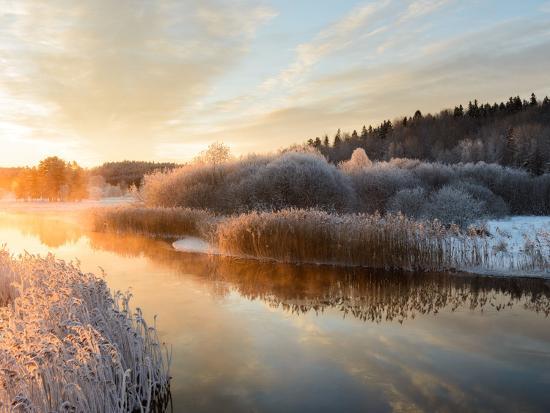 River and Trees in Winter, Storån, Åtvidaberg, Östergötland, Sweden-Utterstr?m Photography-Photographic Print