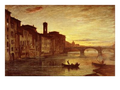River Arno at Sunset Near Santa Trinità Bridge, Florence, Italy-Antonio Fontanesi-Giclee Print