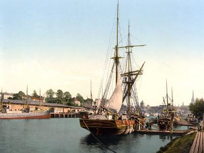 River Barge Moored at Lubeck Harbour, Germany, Pub. C.1895--Photographic Print