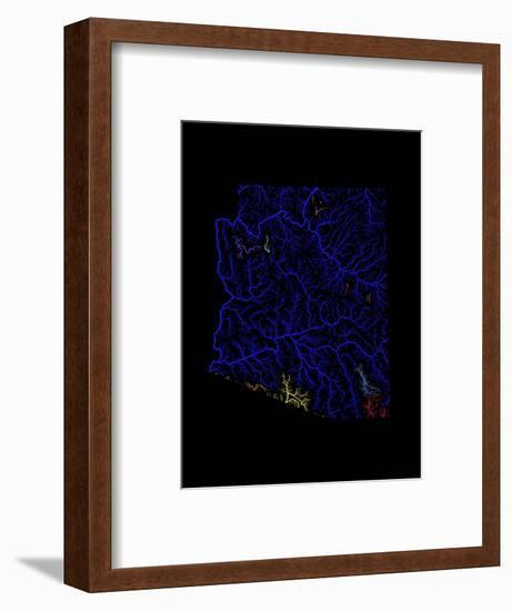 River Basins Of Arizona In Rainbow Colours-Grasshopper Geography-Framed Giclee Print