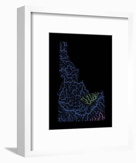 River Basins Of Idaho In Rainbow Colours-Grasshopper Geography-Framed Giclee Print