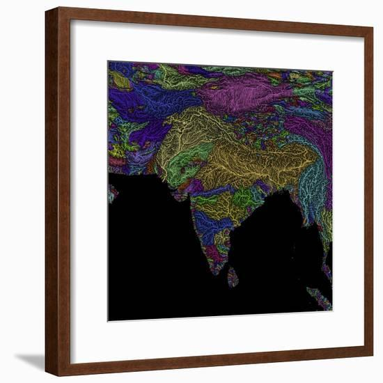 River Basins Of South Asia In Rainbow Colours-Grasshopper Geography-Framed Premium Giclee Print