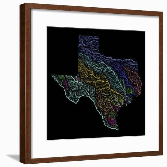 River Basins Of Texas In Rainbow Colours-Grasshopper Geography-Framed Giclee Print