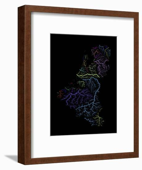 River Basins Of The Benelux States In Rainbow Colours-Grasshopper Geography-Framed Giclee Print