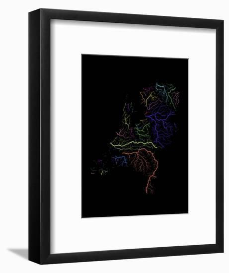 River Basins Of The Netherlands In Rainbow Colours-Grasshopper Geography-Framed Giclee Print