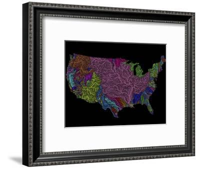 River Basins of the US in Rainbow Colours-Grasshopper Geography-Framed Premium Giclee Print