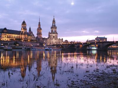 River Elbe, Skyline with Bruhlsche Terrasse, Hofkirche and Semper Opera, Dresden, Saxony, Germany, -Hans Peter Merten-Photographic Print