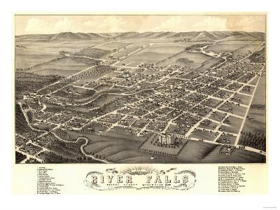 River Falls, Wisconsin - Panoramic Map-Lantern Press-Art Print