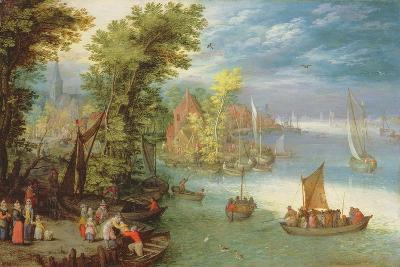 River Landscape with a Village and a Landing, 1612-Jan Brueghel the Elder-Giclee Print