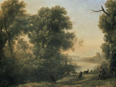 River Landscape with Goatherd Piping, 17th Century-Claude Lorraine-Giclee Print