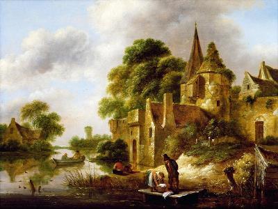 River Landscape with Peasants Near a Castle-Claes Molenaer-Giclee Print