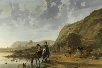 River Landscape with Riders, 1653-7-Aelbert Cuyp-Giclee Print