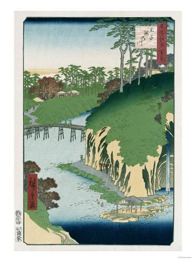 River of Waterfalls, Oji', from the Series 'One Hundred Views of Famous Places in Edo'-Hashiguchi Goyo-Giclee Print