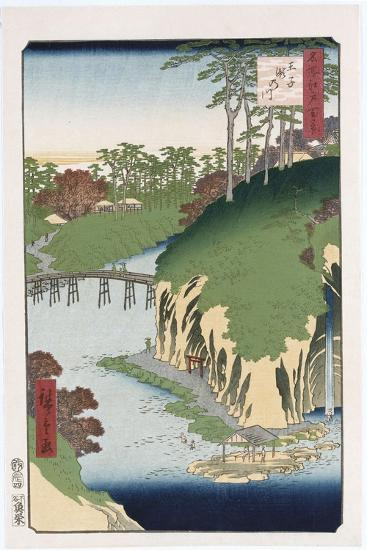 River of Waterfalls, Oji', from the Series 'One Hundred Views of Famous Places in Edo'-Utagawa Hiroshige-Giclee Print