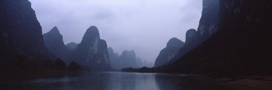 River Passing Through a Hill Range, Guilin Hills, Li River, Yangshuo, China--Photographic Print