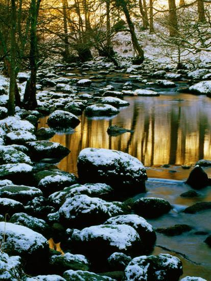 River Rathay at Grasmere with Winter Snow on Rocks, Lake District National Park, Cumbria, England-David Tomlinson-Photographic Print