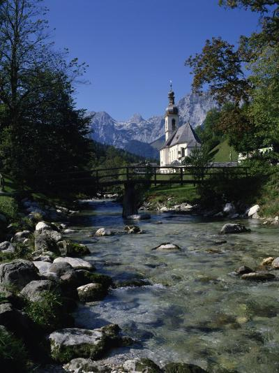 River Running Past the Church in Ramsau, Near Berchtesgaden, Bavaria, Germany, Europe-Hans Peter Merten-Photographic Print