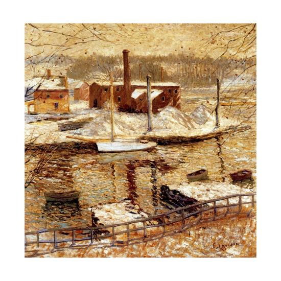 River Scene in Winter, C.1899-Ernest Lawson-Giclee Print