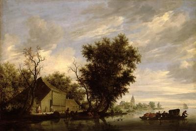 River Scene with a Ferry Boat-Salomon van Ruisdael or Ruysdael-Giclee Print