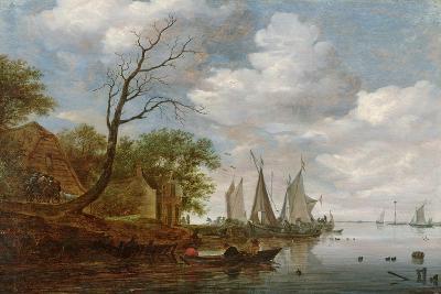 River Scene with Sailing Boats Unloading at the Shore-Salomon van Ruisdael-Giclee Print