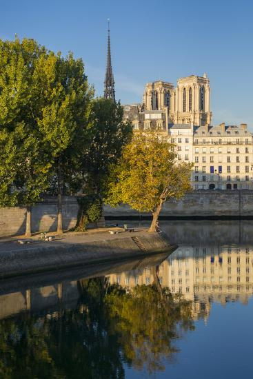 River Seine with Cathedral Notre Dame Beyond, Paris, France-Brian Jannsen-Photographic Print