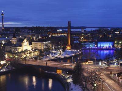 River Tammerkoski Runs Through City Centre, Past Finlayson Complex, Night Time in Tampere, Finland-Stuart Forster-Photographic Print