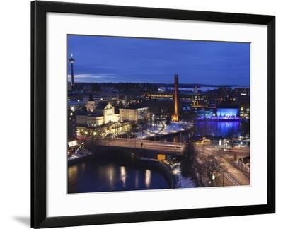 River Tammerkoski Runs Through City Centre, Past Finlayson Complex, Night Time in Tampere, Finland-Stuart Forster-Framed Photographic Print