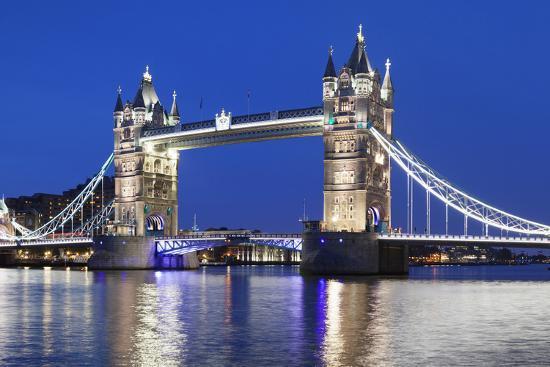 River Thames and Tower Bridge at Night, London, England, United Kingdom, Europe-Markus Lange-Photographic Print