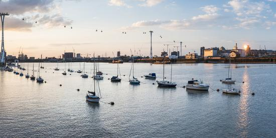 River Thames at Sunset and the Emirates Air Line Cable Car, East London, England-Matthew Williams-Ellis-Photographic Print